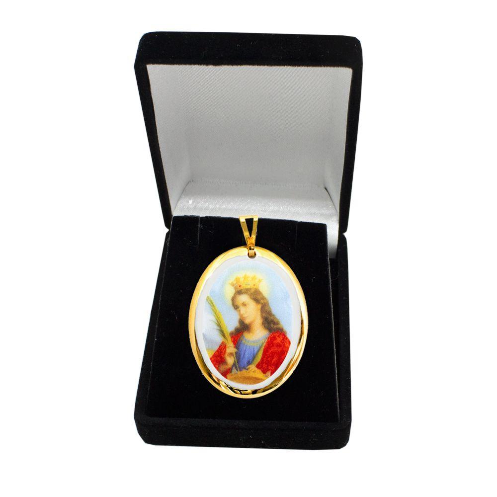 Pingente Medalha Santa Catarina De Alexandria Ouro