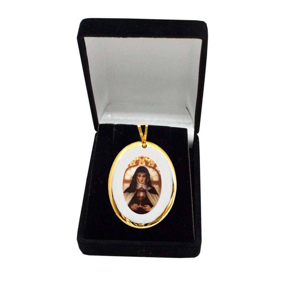 Pingente Medalha Santa Clara Ouro