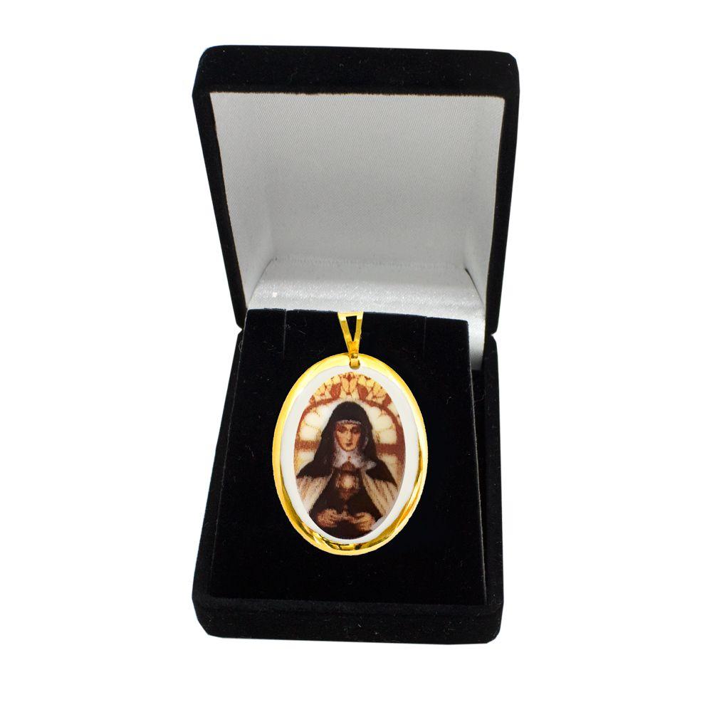 Pingente Medalha Santa Clara Ouro Pequena