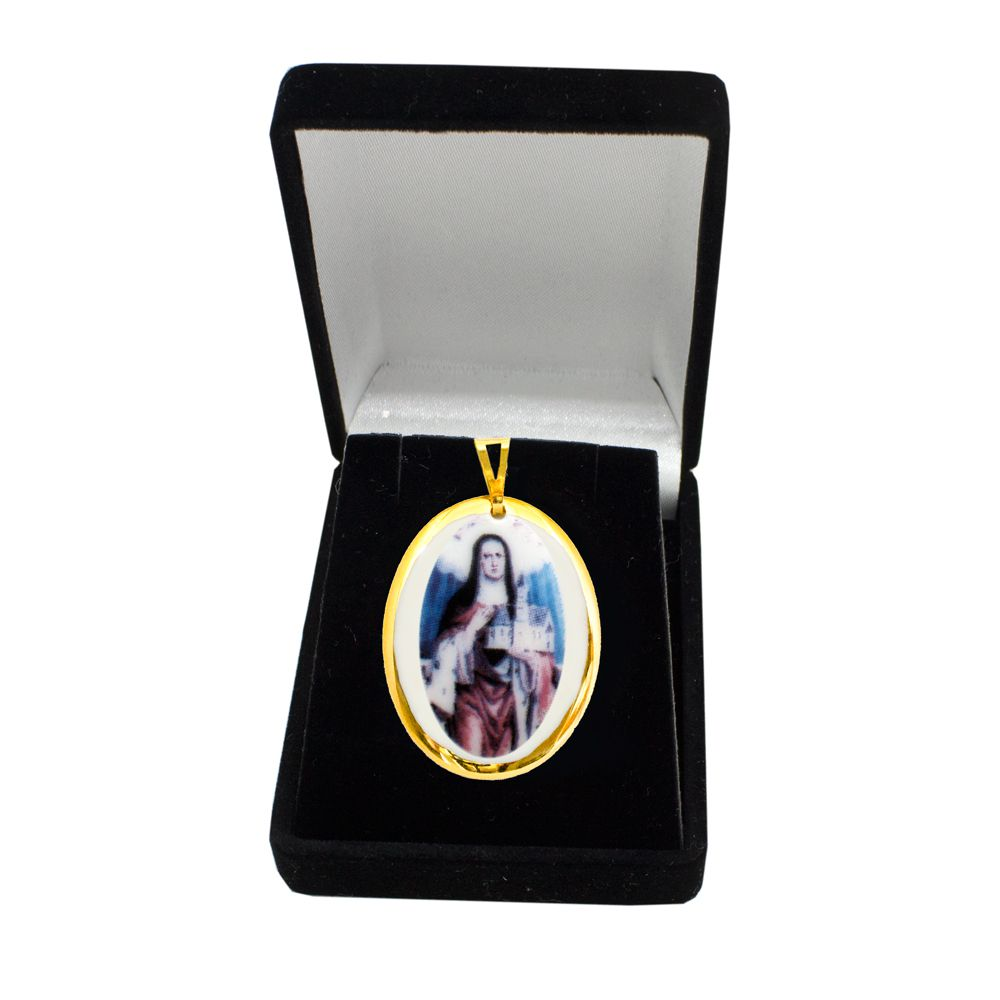 Pingente Medalha Santa Edwiges Ouro Pequena