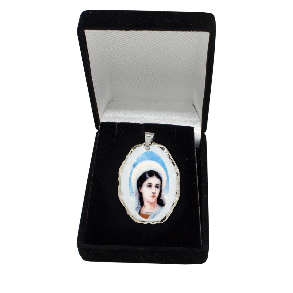 Pingente Medalha Santa Luzia Ouro Branco Pequena