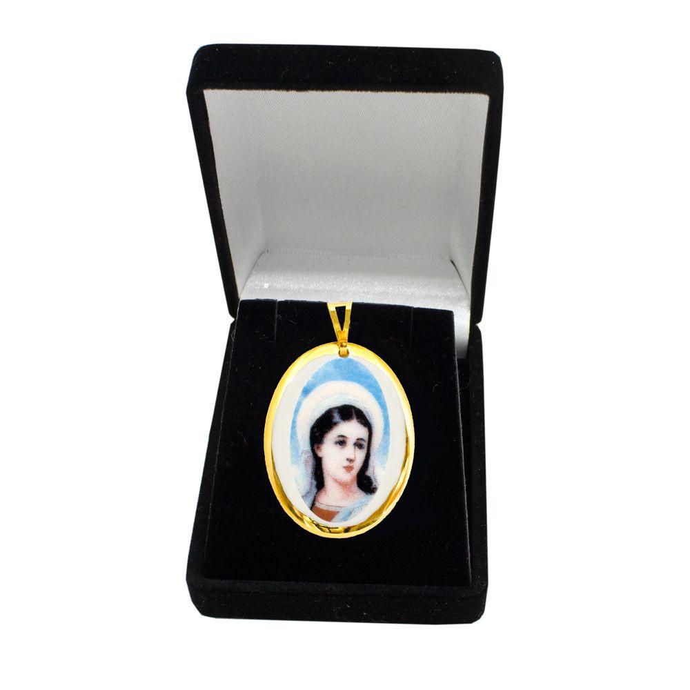 Pingente Medalha Santa Luzia Ouro pequena
