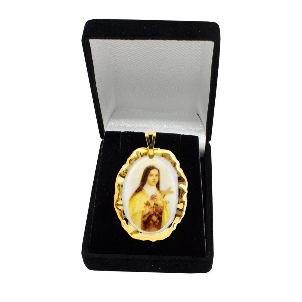 Pingente Medalha Santa Terezinha Ouro