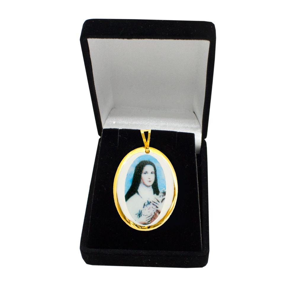 Pingente Medalha Santa Terezinha Ouro Pequena