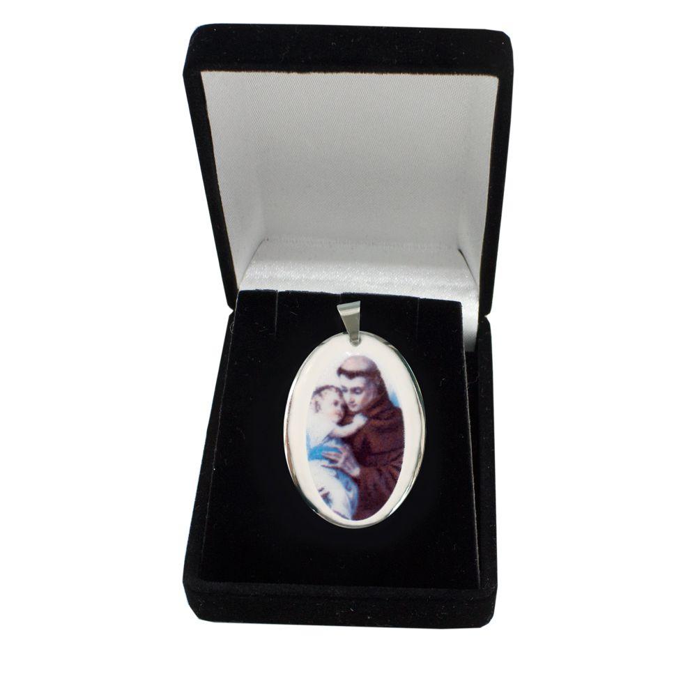 Pingente Medalha Santo Antônio Ouro Branco Pequena