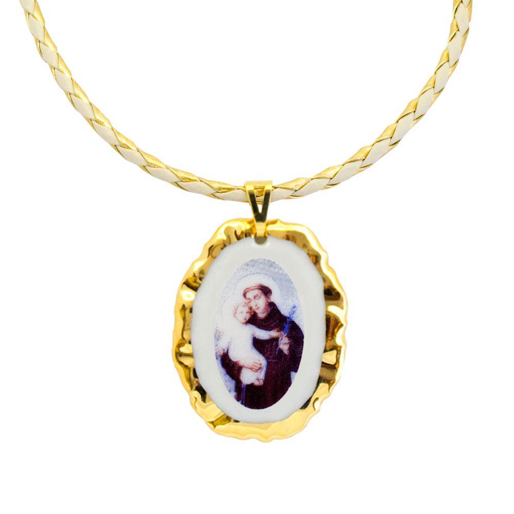 Pingente Medalha Santo Antônio Ouro E Corrente Couro 2f18837dd6