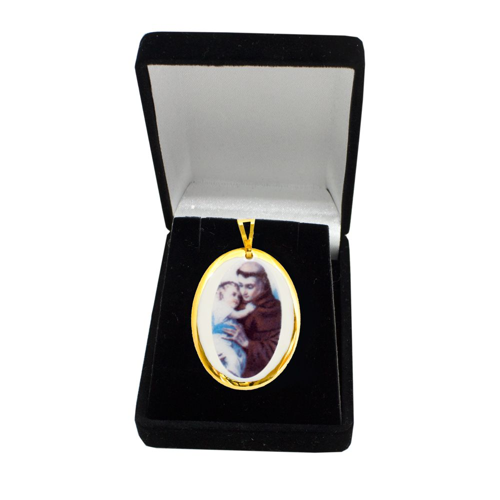 Pingente Medalha Santo Antônio Ouro Pequena