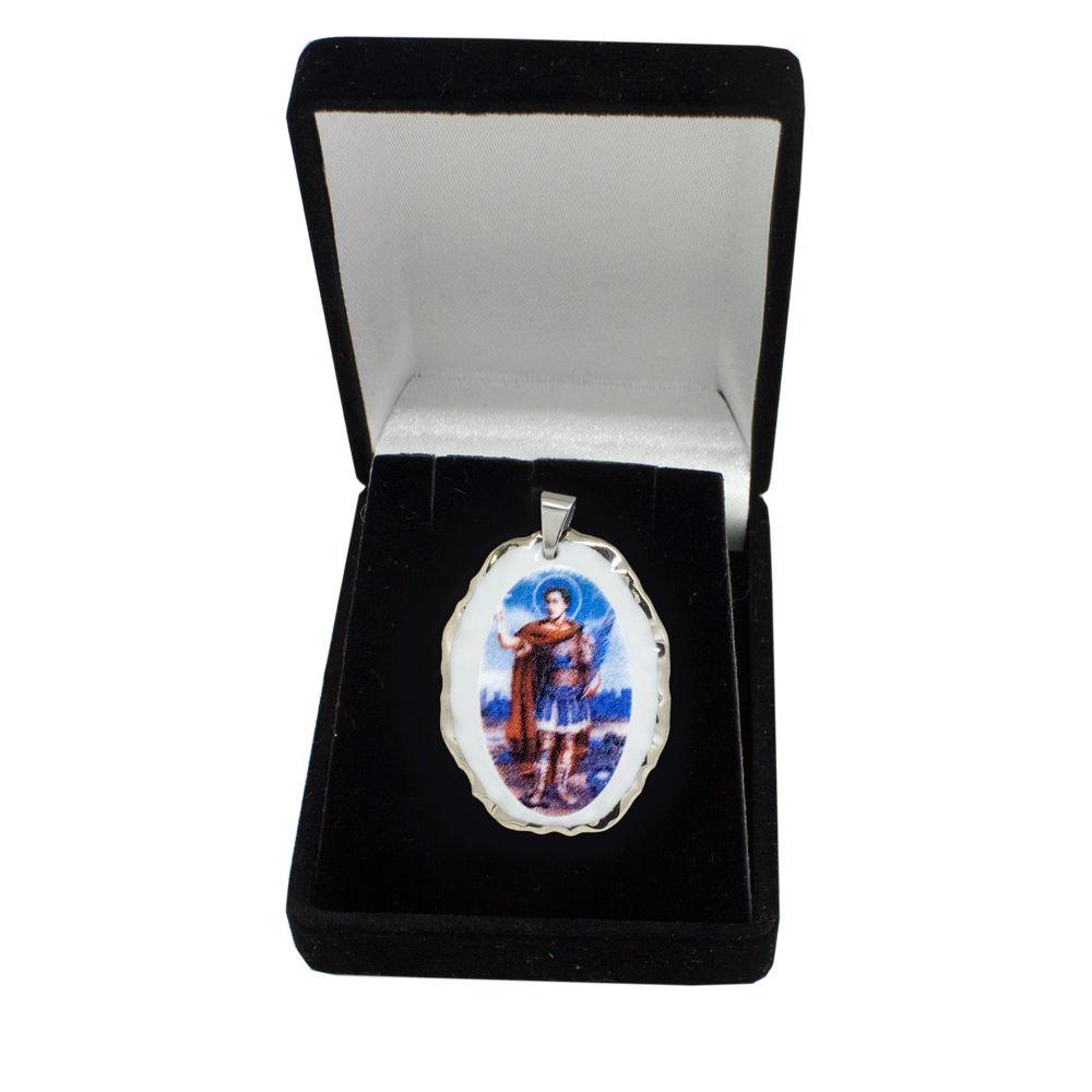 Pingente Medalha Santo Expedito Ouro Branco Pequena