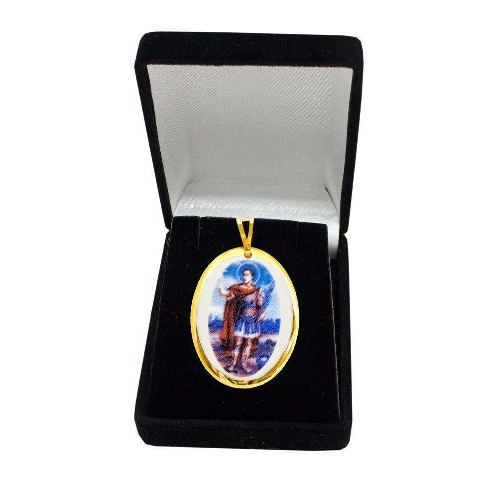 Pingente Medalha Santo Expedito Ouro Pequena
