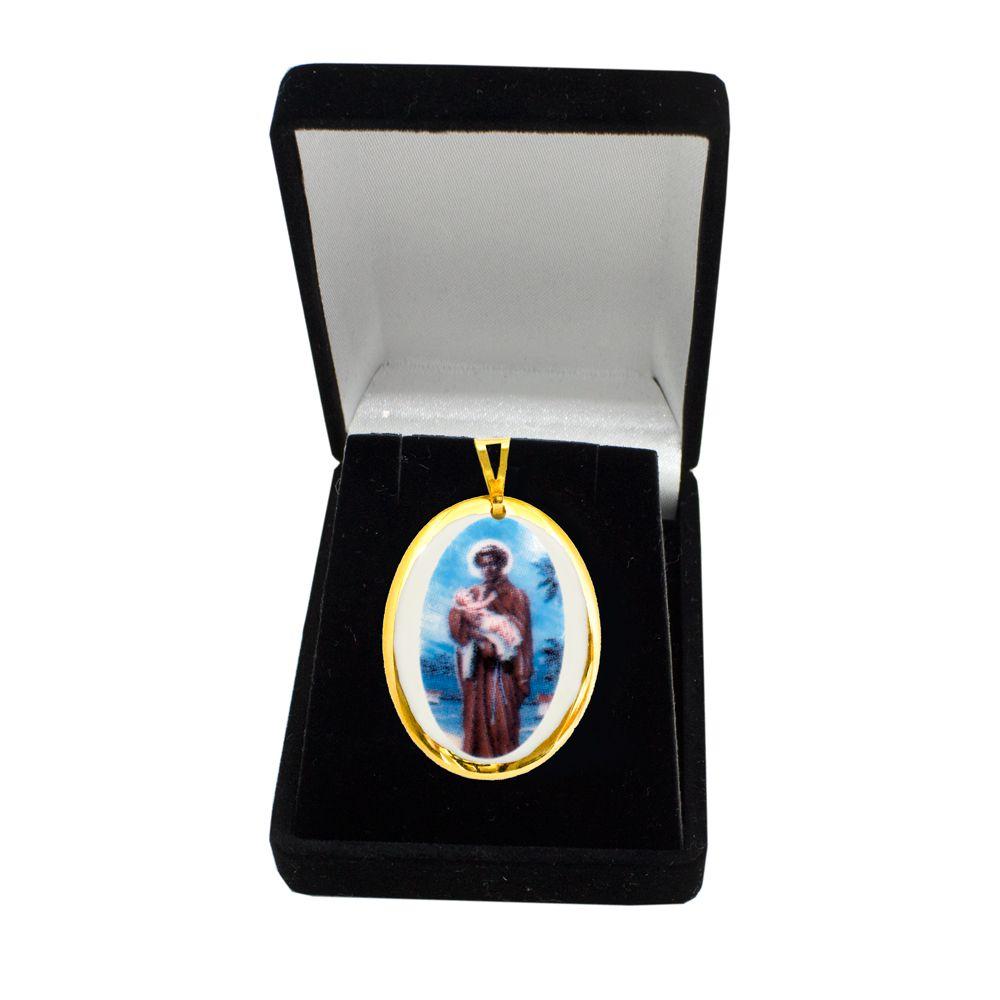 Pingente Medalha São Benedito Ouro Pequena