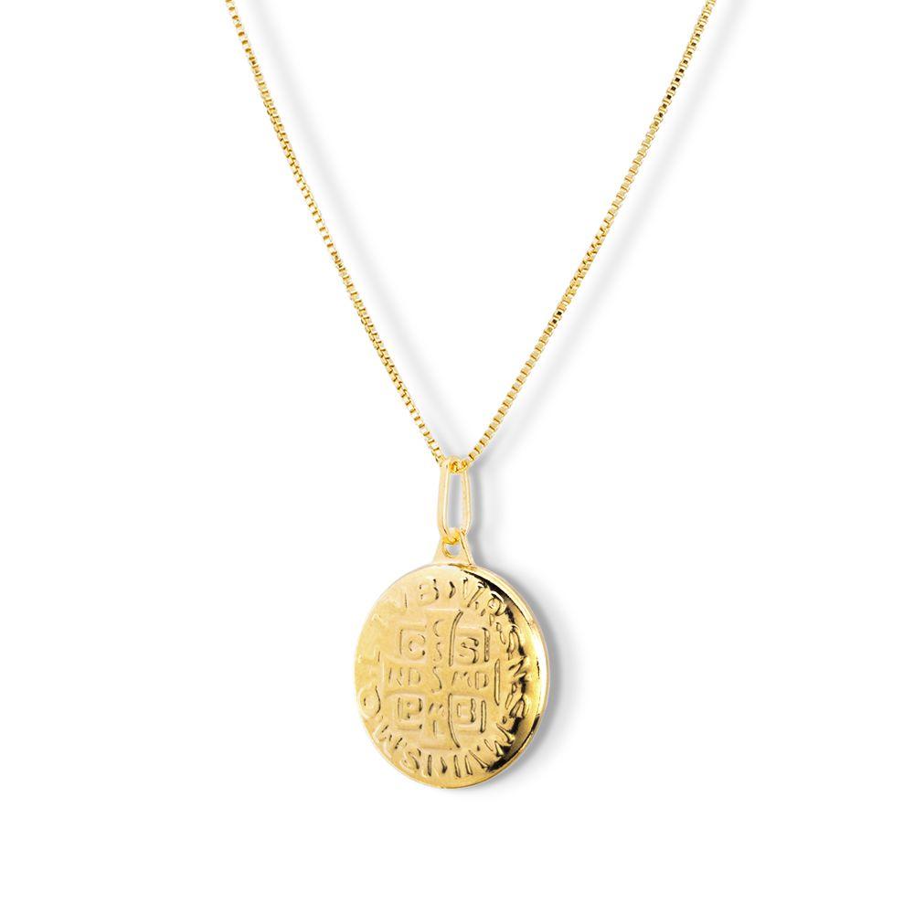 Pingente Medalha São Bento Banhado com ouro 18k