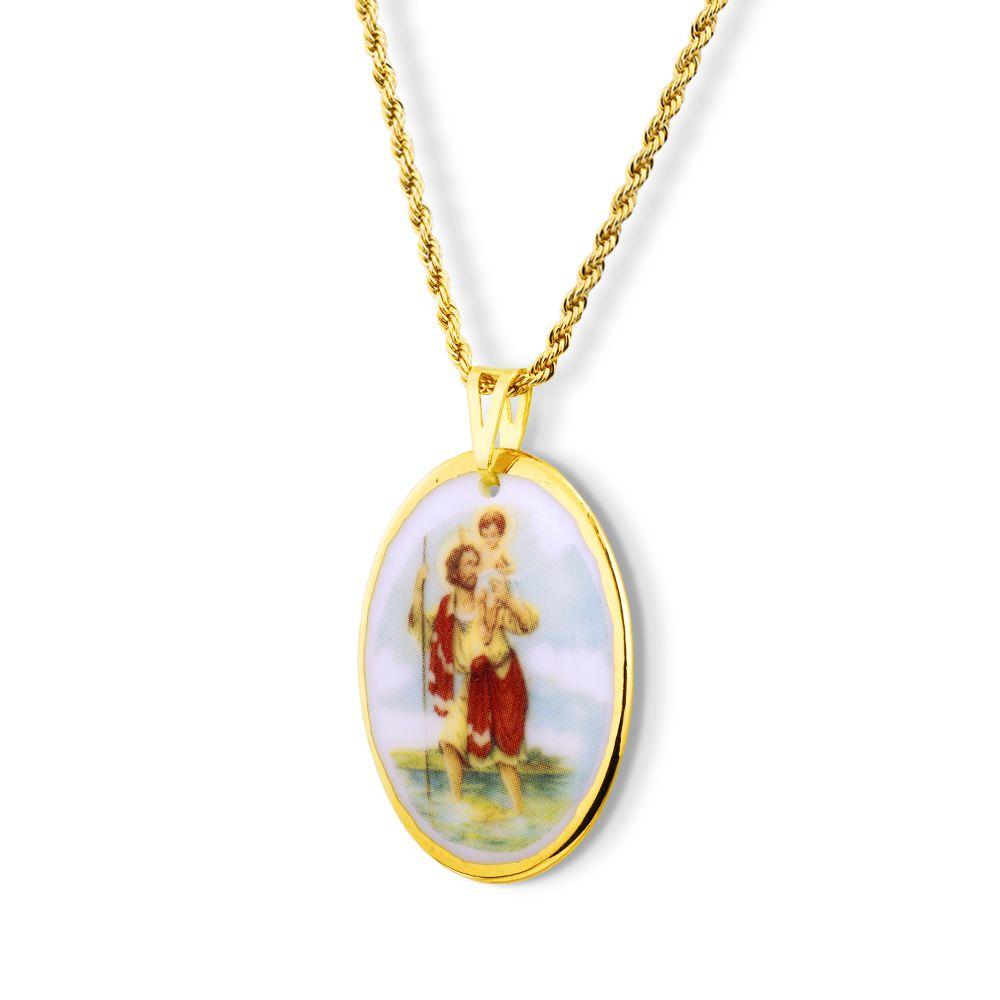 Pingente Medalha São Cristovão Ouro