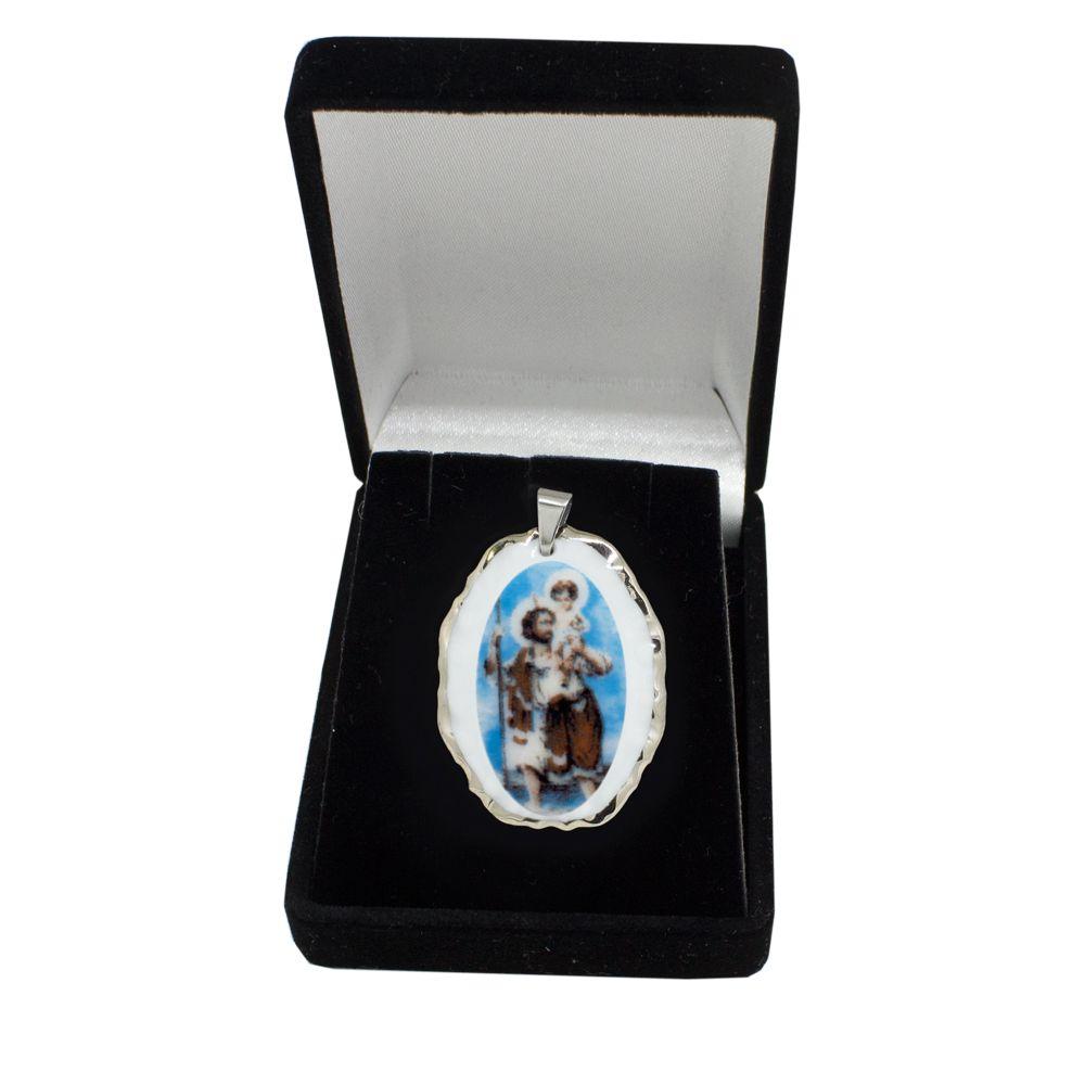 Pingente Medalha São Cristovão Ouro Branco Pequena