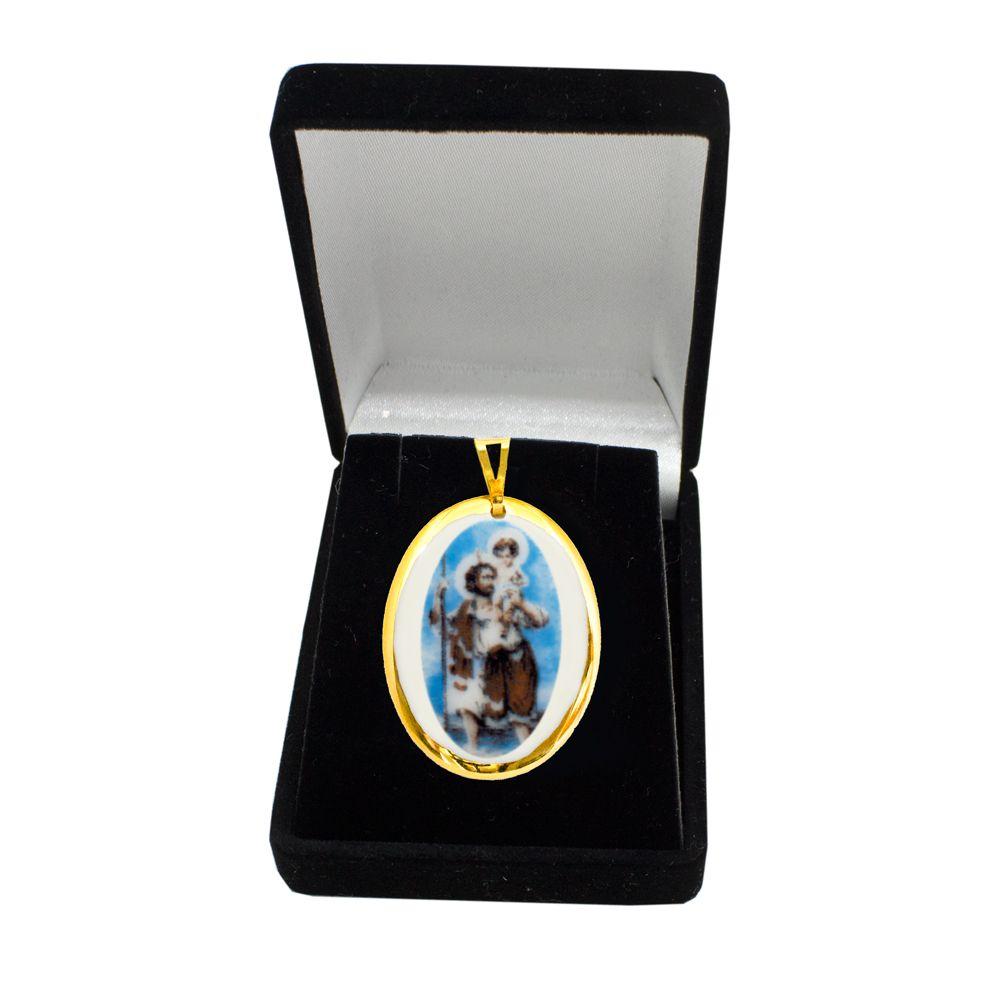 Pingente Medalha São Cristovão Ouro pequena
