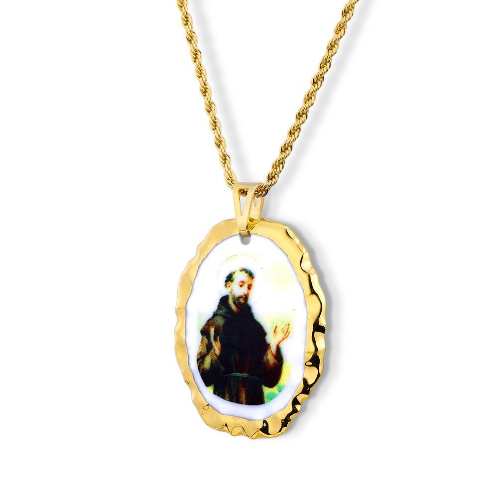 Pingente Medalha São Francisco De Assis Ouro