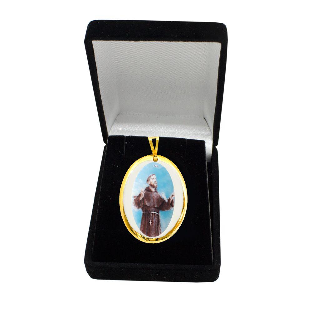 Pingente Medalha São Francisco De Assis Ouro Pequena
