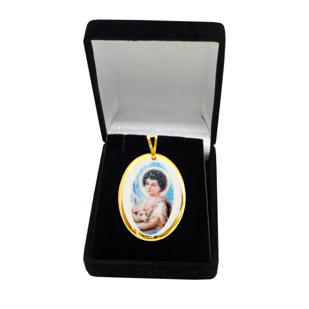 Pingente Medalha São João Batista Ouro pequena