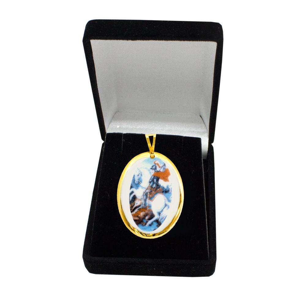 Pingente Medalha São Jorge Ouro Pequena
