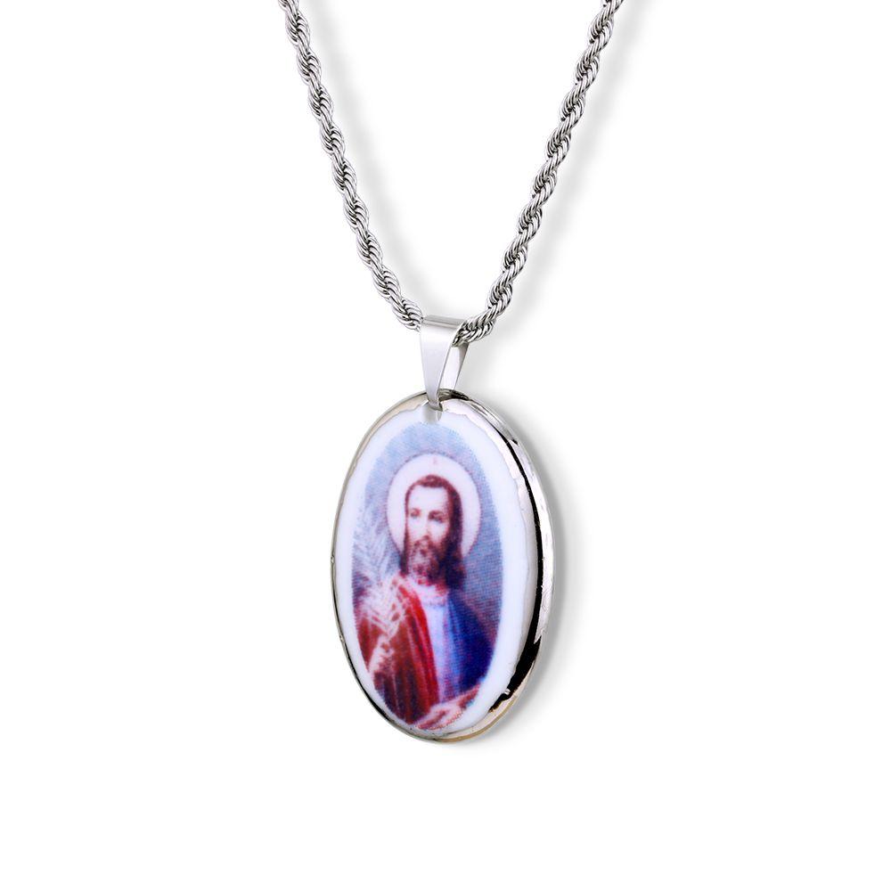 Pingente Medalha São Judas Tadeu Ouro Branco Pequena