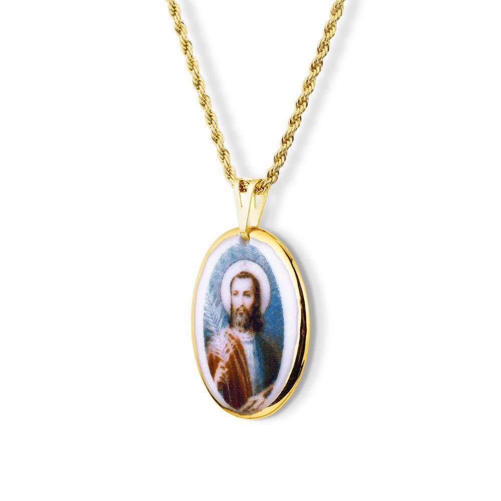 Pingente Medalha São Judas Tadeu Ouro pequena