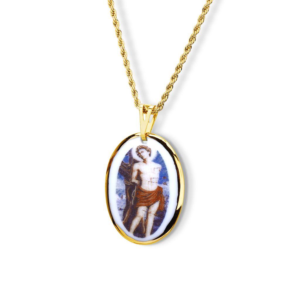 Pingente Medalha São Sebastião Ouro Pequena