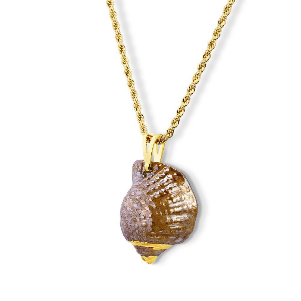 Pingente Medalha Shell com Detalhe Pintado  Mão com Ouro 18K