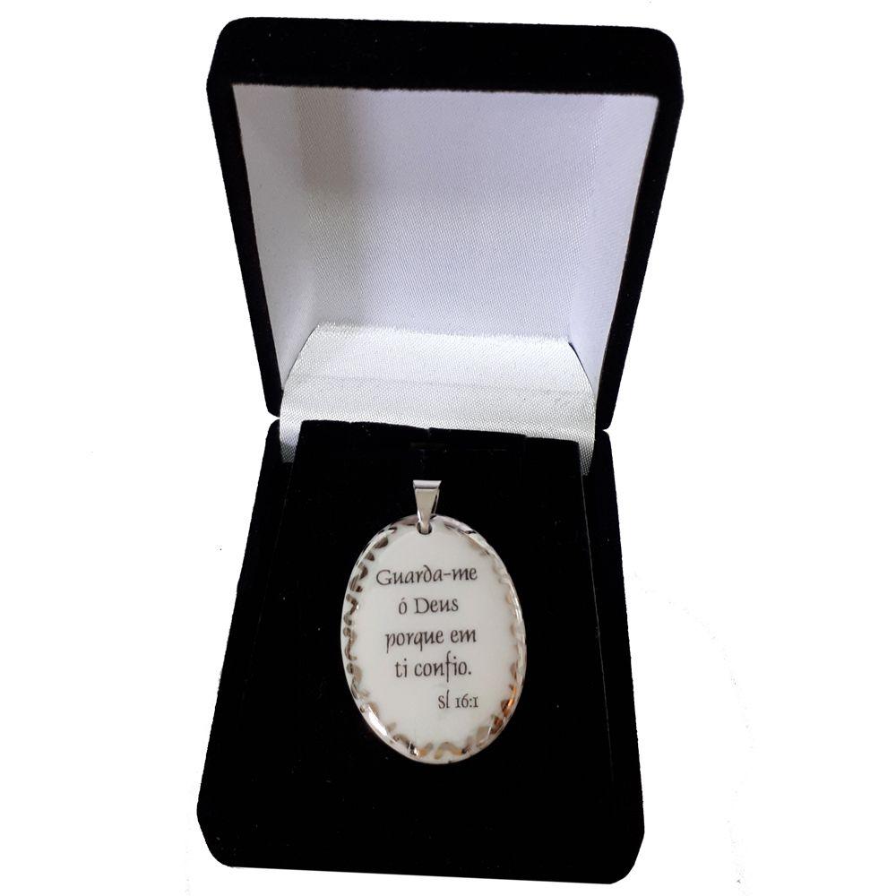 Pingente Medalha versículo borda ouro branco Guarda-me ó Deus porque em Ti confio ouro branco