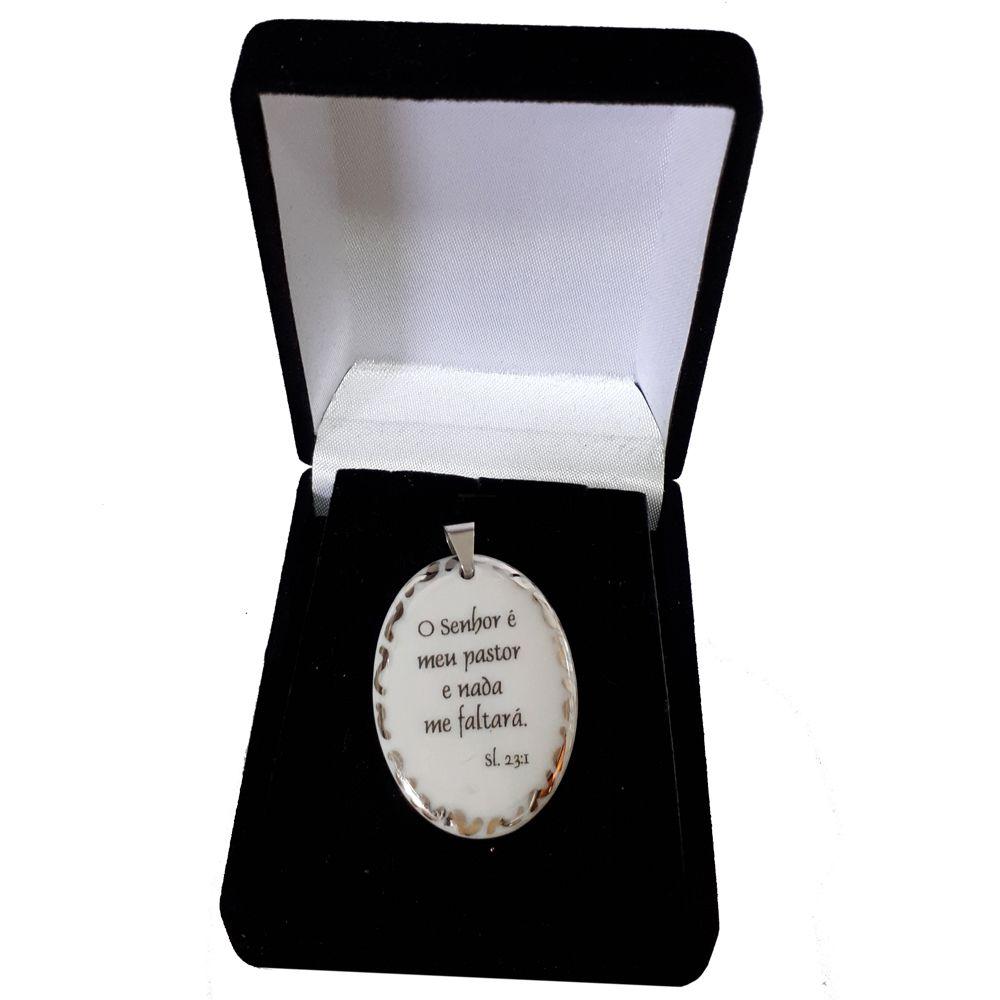 Pingente Medalha versículo borda ouro branco O Senhor é meu Pastor e nada me faltará ouro branco