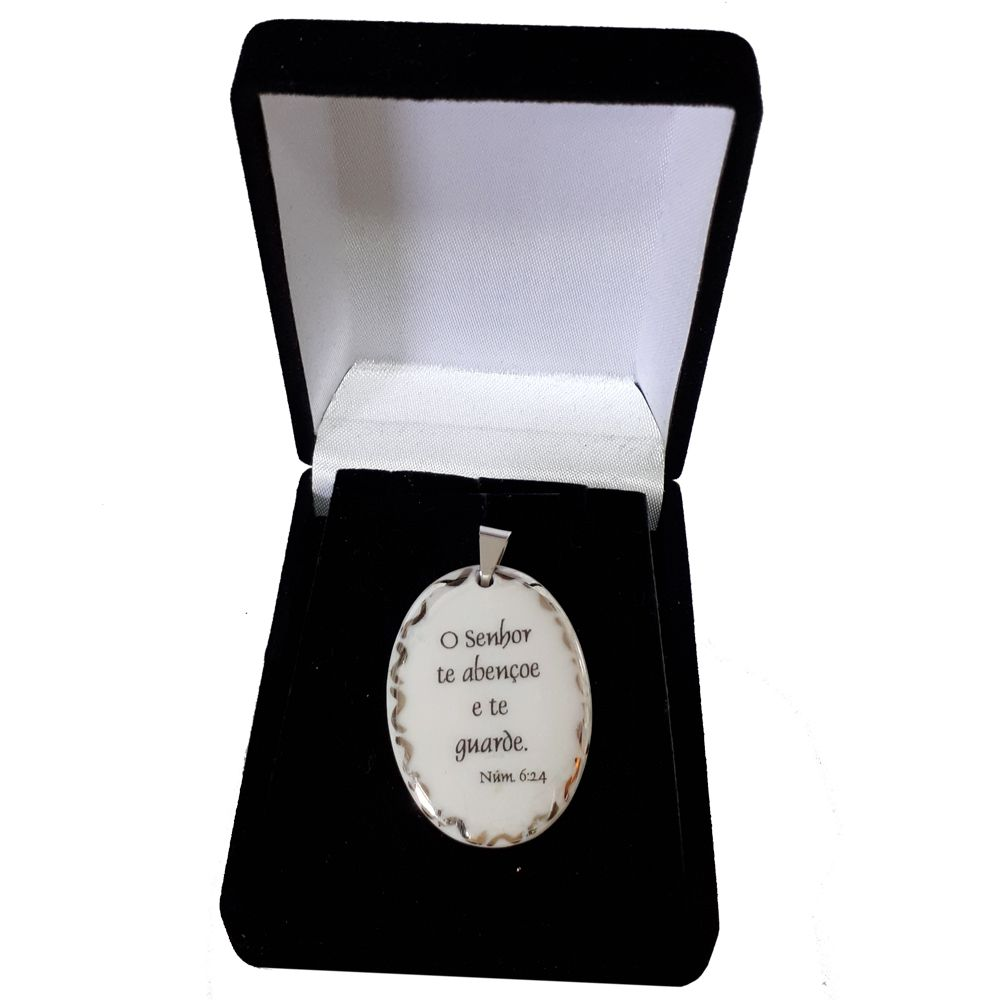 Pingente Medalha versículo borda ouro branco O Senhor te abençoe e te guarde ouro branco
