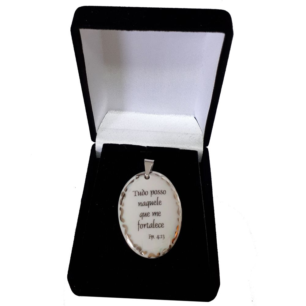 Pingente Medalha versículo borda ouro branco Tudo Posso Naquele que me Fortalece