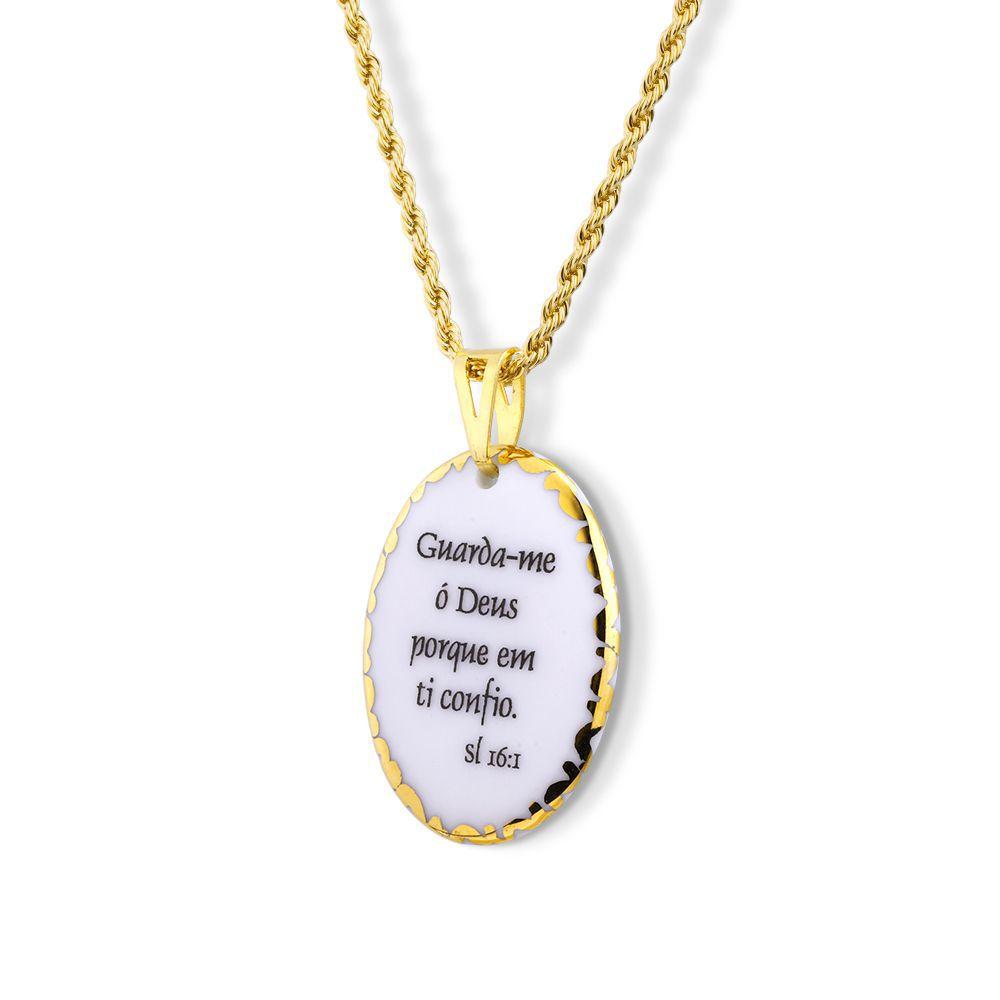Pingente Medalha versículo borda ouro Guarda-me ó Deus porque em Ti confio ouro