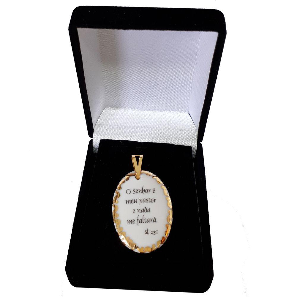 Pingente Medalha versículo borda ouro O Senhor é meu Pastor e nada me faltará ouro