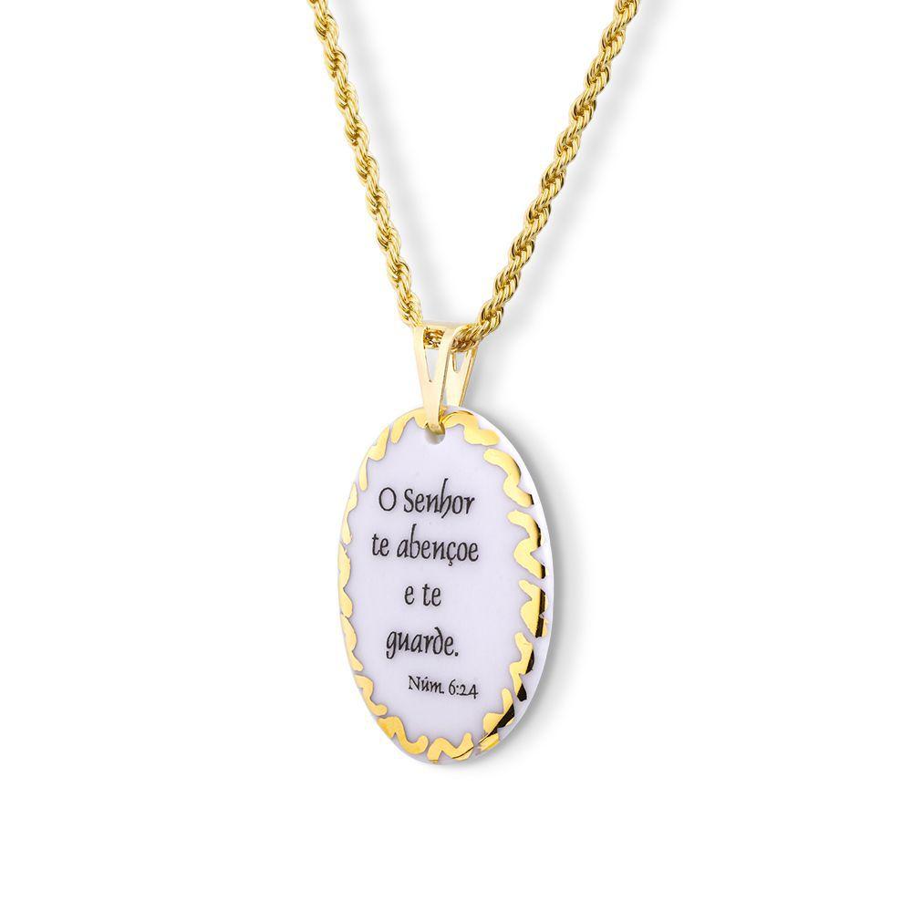 Pingente Medalha versículo borda ouro O Senhor Te Abençoe e Te Guarde ouro