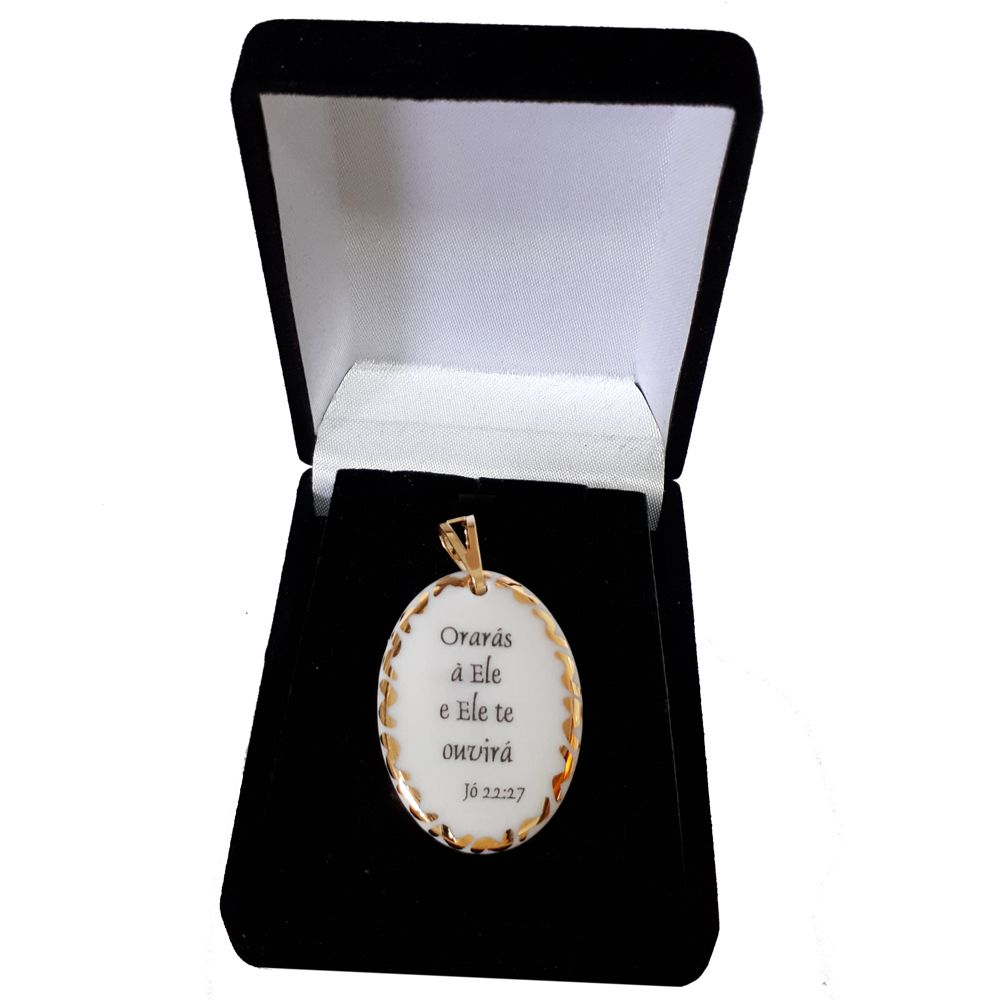 Pingente Medalha versículo borda ouro Orarás e Ele te ouvirá ouro