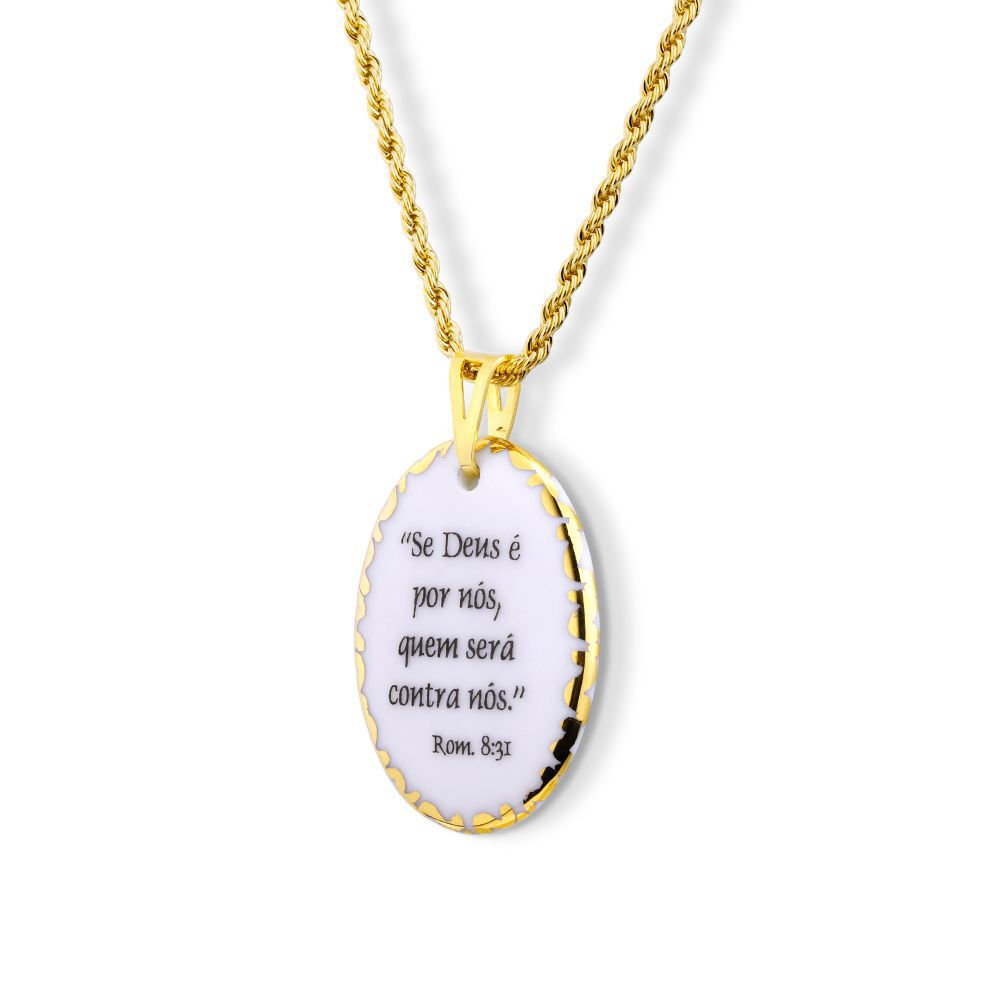 Pingente Medalha versículo borda ouro Se Deus é Por Nós Quem Será Contra Nós ouro