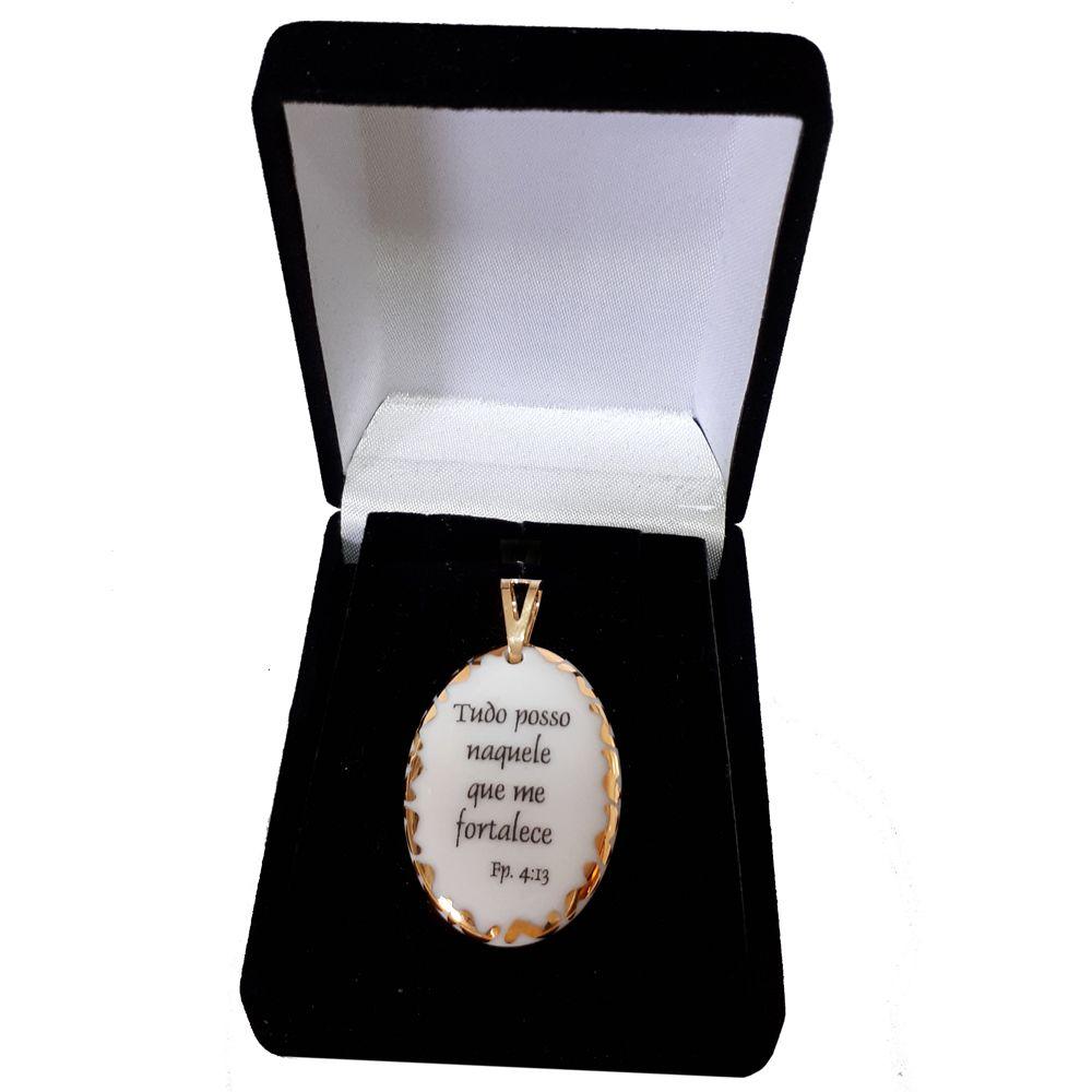 Pingente Medalha versículo borda ouro Tudo Posso Naquele que me Fortalece