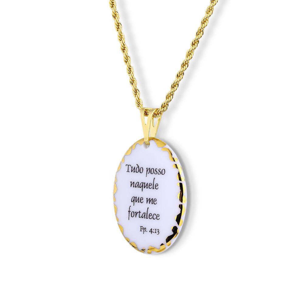 Pingente Medalha versículo borda ouro Tudo Posso Naquele que me Fortalece ouro