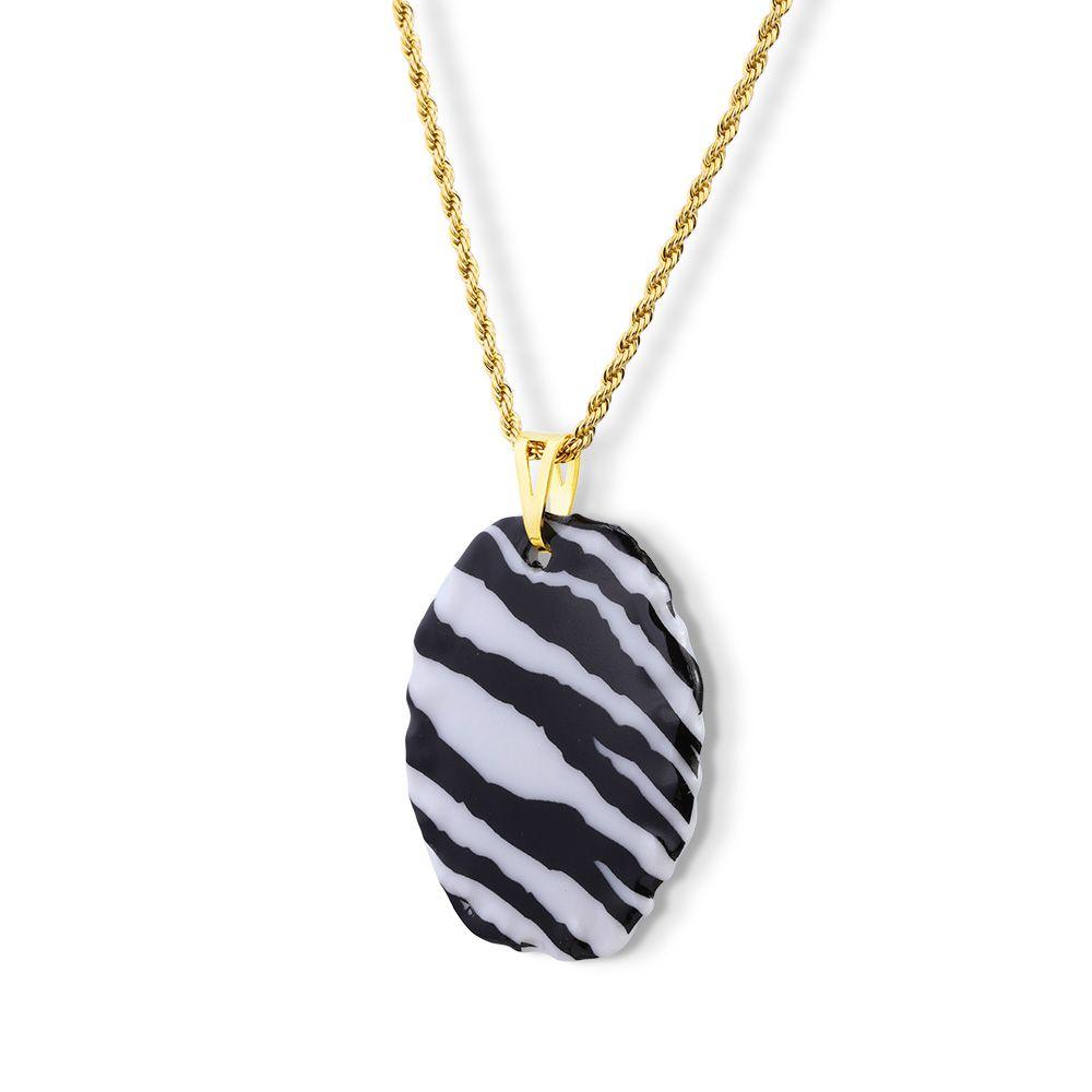 Pingente Medalha Zebra com Argola do Pingente Banhada em ouro