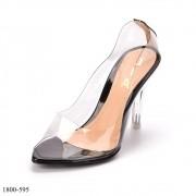 Peep Toe Preto Salto Cristal | D-18000-595