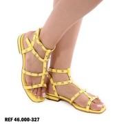 Sandália Rasteirinha Amarela Gladiadora | D-46.000-327