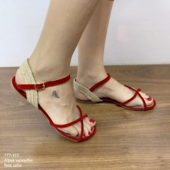 Sandália Rasteirinha Vermelha | D-777-332