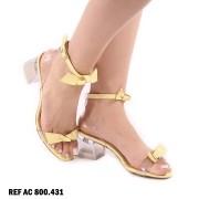 Sandália Amarela Salto Bloco | D-800-431