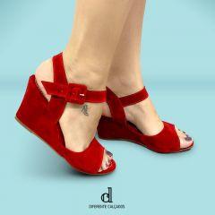 Sandália Anabela Vermelha | D-1.000-02