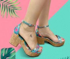 Sandália Azul Floral   D-4515-52
