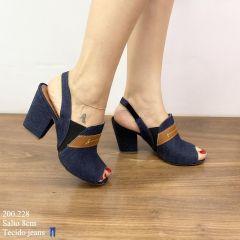 Sandália Jeans Salto Bloco | D-200.228