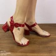 Sandália Vermelho Verniz Salto Bloco | D-800-379