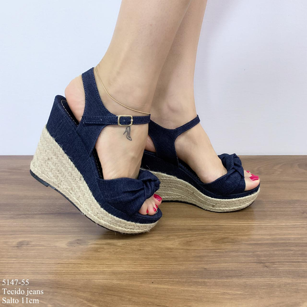 Sandália Anabela Jeans | D-5147-55
