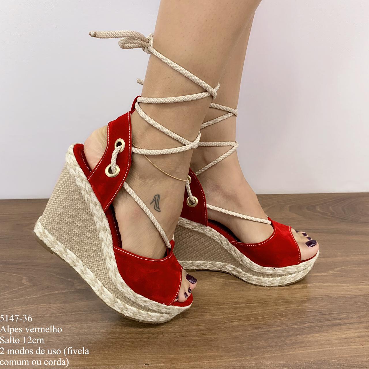 Sandália Gladiadora Anabela Vermelha | D-5147-36
