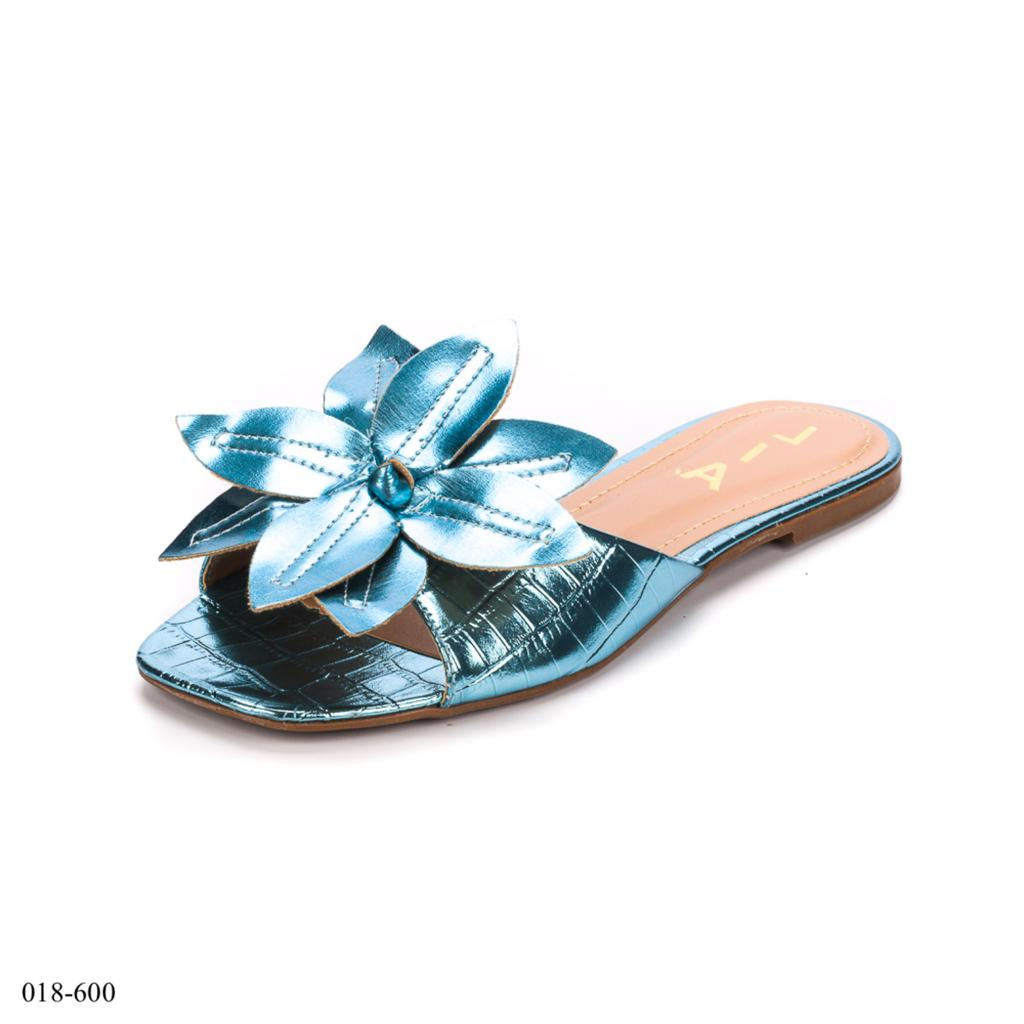 Rasteirinha Floral Azul Metalizada | D-018-600