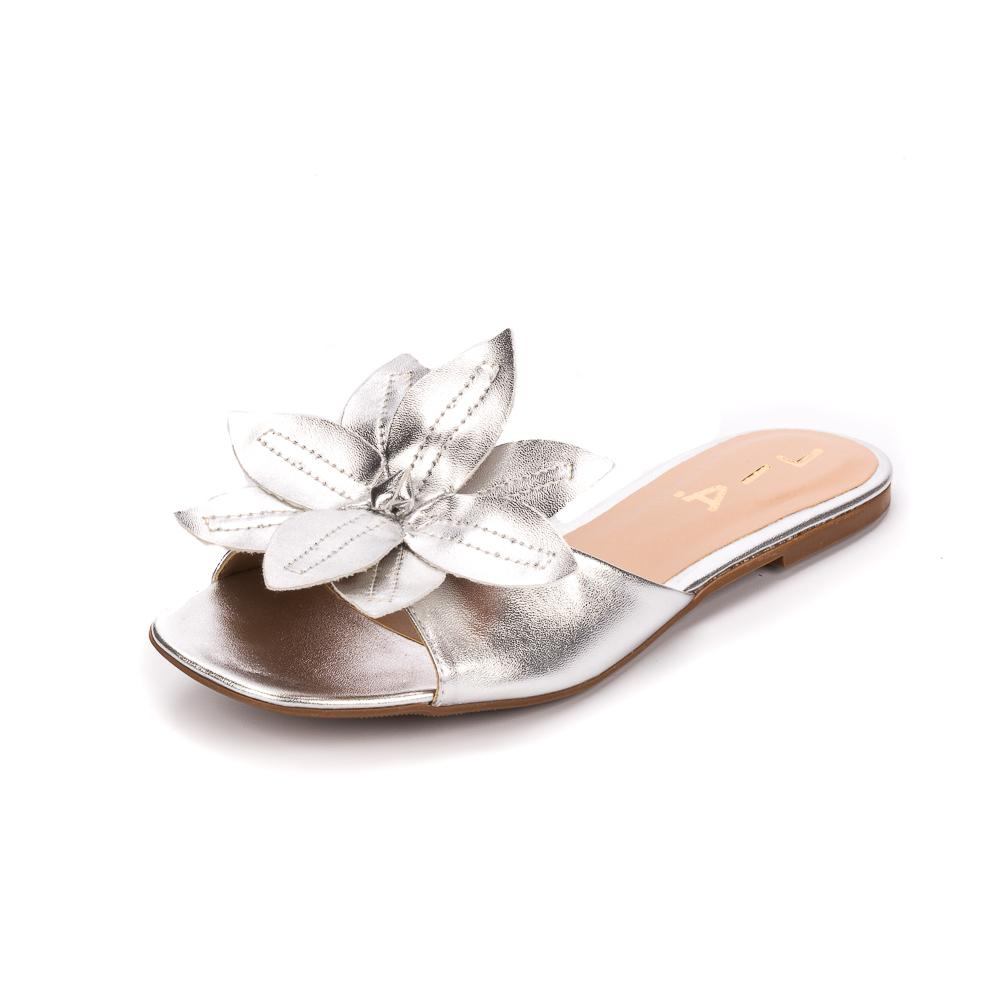 Rasteirinha Prata Floral | D-018-600